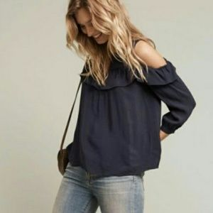 Maeve Brearly Open Ruffle Cold Shoulder Top NWOT